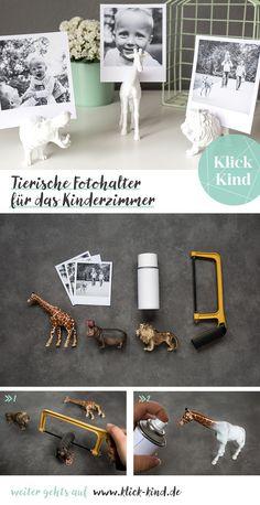 DIY Anleitung für tierische Fotohalter als schöne Deko im Kinderzimmer