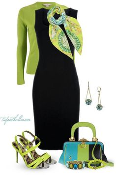Little black dress with a pop of lime green color jacket, scarf, purse and shoes. Great office or business outfit. Mode Outfits, Fashion Outfits, Womens Fashion, Fashion Trends, Skirt Outfits, Trending Fashion, Dress Fashion, Fashion Ideas, Classy Outfits