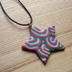 Red and Green Star FIMO Polymer Clay Pendant Necklace Jewellery £6.00