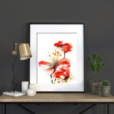Red Flowers Wall Art Print, Watercolor Painting Art Print, Modern Home Decor, Watercolour Painting Art by CanotStopPrints on Etsy