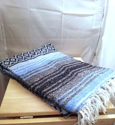 Vintage Southwestern Blanket Teal/Blue Woven Wool Rug Saddle Throw Pastel Navajo Aztec Tribal Mexican Winter Home Decor PERFECT CONDITION!
