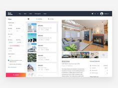 Estate Dashbox Concept by Artyom Khamitov - Dribbble Wireframe Design, Dashboard Design, Graphisches Design, Flyer Design, Web Design Projects, Design Websites, Mobile Web Design, Ui Patterns, Ui Web