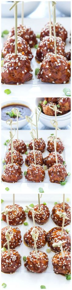 Slow Cooker Teriyaki Meatballs - Healthy, moist, turkey meatballs are coated in a delicious homemade teriyaki sauce in this easy to make slow cooker appetizer!