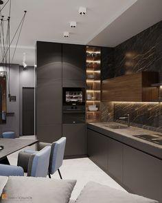 Kitchen Design Open, Luxury Kitchen Design, Contemporary Kitchen Design, Kitchen Cabinet Design, Luxury Kitchens, Interior Design Kitchen, Kitchen Designs, Open Kitchen, Contemporary Bedroom