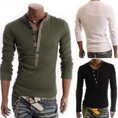 $ 15.04+ free shipping! Fashion Slim Fit Casual Pullover Long Sleeve Button Buttons Shirt For Men