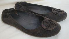 Tory Burch Reva Shoes Khaki Green Suede Leather Logo Detail Ballet Flats 6 #ToriBurch #BalletFlats