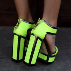 Chunky lime green heels