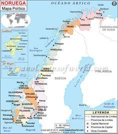 Mapa de Noruega Lofoten, Longyearbyen, Kirkenes, Tromso, Lappland, Oslo, Budapest, Narvik, Country Maps
