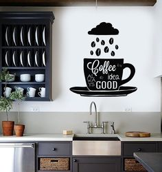 Vinyl Wall Decal Coffee Quote Shop Cup Beans Kitchen Stickers Mural (ig4478)