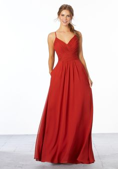 Morilee 21664 is an A-line chiffon bridesmaid gown with a diagonally ruched V-neck bodice, spaghetti straps, ruched waistband, and beautiful diagonally ruched back. Mori Lee Bridesmaid Dresses, Wedding Dresses, Bridesmaids, Dream Dress, Bridal Gowns, Fashion Dresses, Bodice, Eggplant, Cinnamon