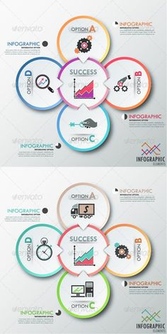 Modern Infographic Options Template (Two Versions) — Vector EPS Paper Presentation, Presentation Design, Presentation Templates, Business Powerpoint Templates, Infographic Templates, Infographics Design, Process Infographic, Web Design, Book Design