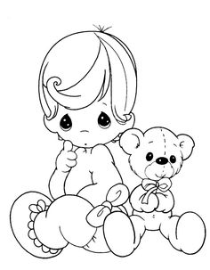 precious moments baby and teddy bear coloring pages - Baby Doll Coloring Pages Printable