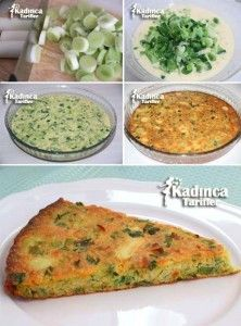 Baked Leek Recipe, How To - Womanly Recipes - ✿ ❤ ♨ Baked Corn Flour Leek Pastry Recipe / Ingredients: 1 bond leek stalks), 2 eggs, 2 te - Leek Recipes, Pastry Recipes, Cooking Recipes, Turkish Recipes, Ethnic Recipes, Plat Vegan, Baked Corn, Tasty, Yummy Food