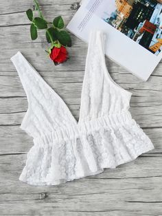Double Plunge Lace Crop Peplum Top -SheIn(Sheinside)