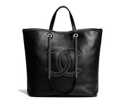 Handbags of the  collectionName  CHANEL Fashion collection   Large Tote,  calfskin, eyelets   silver-tone metal, black on the CHANEL official website. 158d72c58e