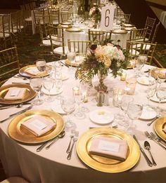 #WeddingWednesday today is for all of our #GoldLovers  Our Gold Chiavari Chairs with upgraded Gold Charger Plates and lush florals make this such a beautiful & chic place setting!   #wedding #weddingtable #weddinginspiration #bestweddingvenue #sandiegowedding