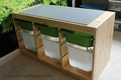 make a diy lego table out of an Ikea Trofast shelf.