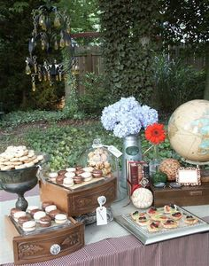 wooden boxes and urns filled with cookies.