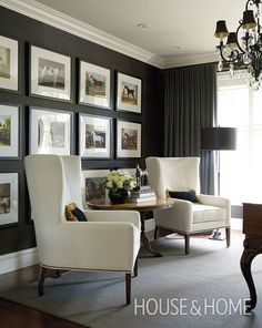Dark grey grasscloth wallpaper and an elegant pair of wingback chairs give this home s study a moody and masculine feel Photographer Phil Crozier Designer James McIntyre Home Living Room, Living Room Decor, Living Spaces, Dark Walls Living Room, Home Office Design, Home Office Decor, Masculine Office Decor, Home Interior, Interior Design