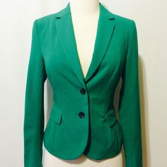 "Jade Green Fitted Jacket Amazing fitted blazer. Pleated darted front, flap pockets seamed back. H and M brand. Fully lined.   Dry Clean Only 66% poly 30% viscose 4% elastane  100% poly lining   32"" bust  20"" overall length H&M Jackets & Coats Blazers"
