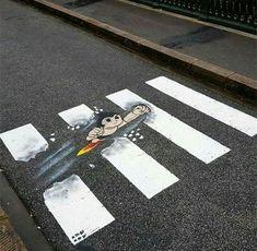 Cross the road with Astro Boy. Street Art News, Street Artists, Graffiti, Pedestrian Crossing, Casual Art, Zebra Crossing, French Street, 100 Fun, Illusion Art