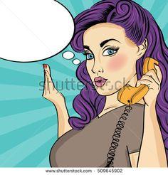 Pop art woman with retro phone.Comic girl. Pin up woman. Vector format