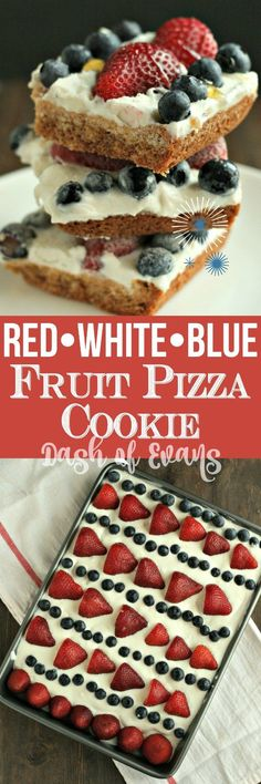 9 x Pan - Looking for a simple patriotic dessert? Here ya go: Fruit Pizza Cookie! Sugar cookie dough with orange zest, whipped vanilla frosting and berries! Fruit Pizza Cookies, Cookie Pizza, Desserts For A Crowd, Easy Desserts, Dessert Recipes, Jar Recipes, Patriotic Desserts, Patriotic Party, Blue Fruits