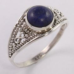 925 Sterling Silver Handcrafted Ring Size US 8.75 Natural LAPIS LAZULI Gems NEW #Unbranded