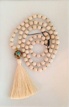 Creamy White Riverstone Tibetan Bead Silk Tassel Necklace