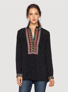 eb718ab83ada1c Johnny Was Clothing Plus Size Ditsy Floral Embroidered Long Sleeve Blouse  in Black / Multicolored Ditsy