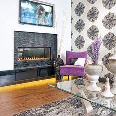 Foyer au gaz dans un salon contemporain - Salon - Inspirations - Décoration et rénovation - Pratico Pratique
