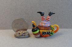OOAK fallen witches  hallowwen cupcake teapot Cottage Kitty