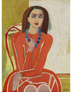 Study for Self-Portrait In Orange With Blue Necklace, 1944-45. By Françoise Gilot (France, born 1921).