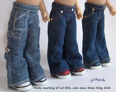 Sewing pattern by Silkspike Dolls for Riley Kish - Sneaker Cut Jeans. Available on Etsy. Doll Clothes Patterns, Clothing Patterns, Sewing Patterns, Cargo Jeans, Jeans Pants, Cut Jeans, Bell Bottoms, Fashion Dolls, Body