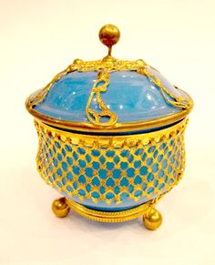 Antique vintage French 19th century blue opaline bowl and cover with intricate dore bronze mounts