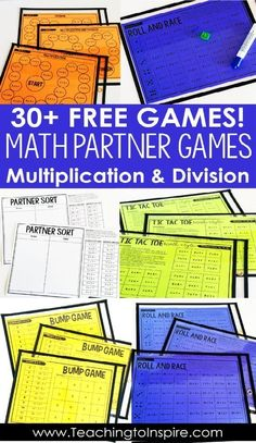 FREE math partner games for multiplication and division facts. These partner games are super low-prep and engaging. They work great for guided math centers, math partner games, and even early finishers. Math Rotations, Math Centers, Numeracy, 5th Grade Centers, Math Tutor, Teaching Math, Math Education, Math Teacher, Maths 3e