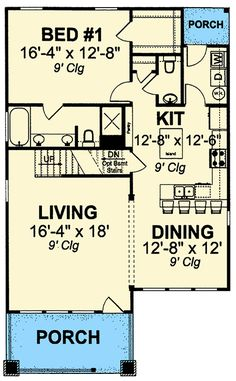 Flexible Two-Story Cottage - floor plan - Main Level Small Cottage House Plans, Narrow Lot House Plans, Small Cottage Homes, 2 Bedroom House Plans, Small House Floor Plans, Cottage Floor Plans, Cabin Floor Plans, Beach House Plans, Small Cottages