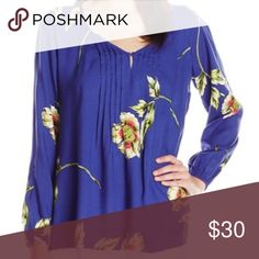 Floral Top Gorgeous royal blue long sleeve blouse with floral design. Size medium but runs large. Lark & Ro Tops Blouses