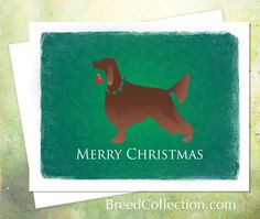 Irish Setter Christmas Card from the Breed Collection ❤  Find more Breed Collection here…. ❤ BreedCollection.com ❤ TriPodDog.Etsy.com ❤ TriPodDogDesign.RedBubble.com ❤ http://www.zazzle.com/breed_collection