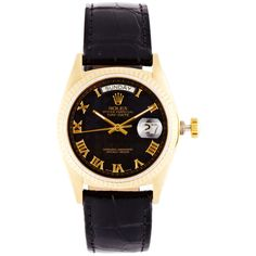 CMT Fine Watch and Jewelry Advisors Vintage Rolex 18K Yellow Gold... ($16,850) ❤ liked on Polyvore featuring jewelry, watches, rolex watches, gold watches, vintage wristwatches, vintage gold watches and black watches
