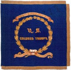 The flag is embroidered with gold fringe. Inside the Conservator's Studio: Flags of the United States Colored Troops. Courtesy of the NY MIlitary Museum. Civil War Flags, Union Flags, Confederate States Of America, Union Army, Civil War Photos, American Civil War, Troops, Soldiers, Military History