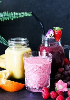 Healthy Recipes, Healthy Meals, Smoothies, Panna Cotta, Raspberry, Fruit, Breakfast, Ethnic Recipes, February