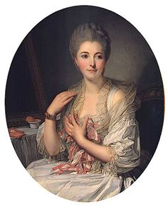 Portrait of Madame de Courcelles At Her Toilette by Jean Baptiste Greuze (private collection)