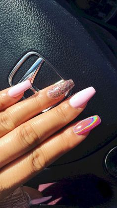 Nail art is a very popular trend these days and every woman you meet seems to have beautiful nails. It used to be that women would just go get a manicure or pedicure to get their nails trimmed and shaped with just a few coats of plain nail polish. Nude Nails, Coffin Nails, Coffin Acrylics, Stiletto Nails, Hair And Nails, My Nails, Idol Nails, Crome Nails, Pink Nail Designs