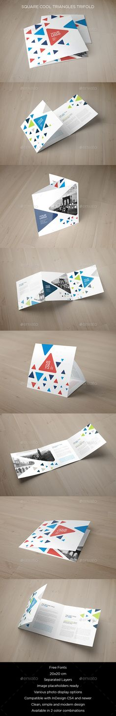Square Cool Triangles Trifold — InDesign INDD #flexible #modern • Available here → https://graphicriver.net/item/square-cool-triangles-trifold/12090092?ref=pxcr