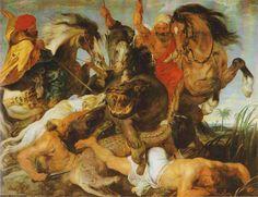 Peter Paul Rubens, Hippopotamus and Crocodile Hunt, c. 1615/16, Oil on canvas (Rubens/user: Aethon)