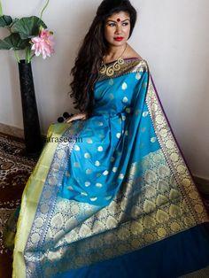 Banarasi/Banarasee  Art Silk Sari-Rama Green