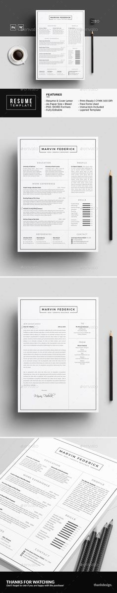 Resume / Curriculum Vitae / Design / Ideas / Inspiration / Clean / Minimalist / No Photo / Template