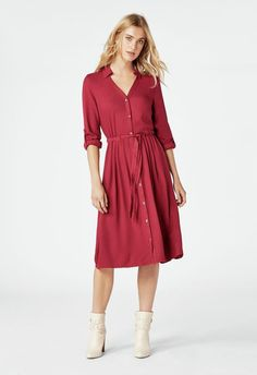 4856dcd25832d6 JustFab Midi Shirt Dress Womens Red regular Size S