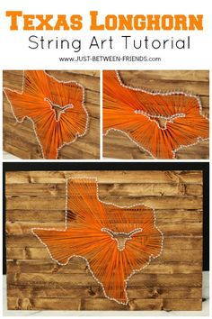 String Art Texas Longhorn Style (for KB and Uncle Steve Texas String Art, String Art Diy, String Art Tutorials, Texas Crafts, Crafts To Make, Arts And Crafts, Texas Diy, State Crafts, Nifty Crafts